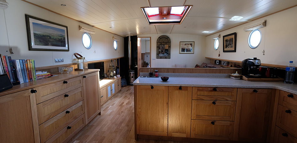 Galley Saloon bedroom 65L Luxemotor Class Dutch Barge