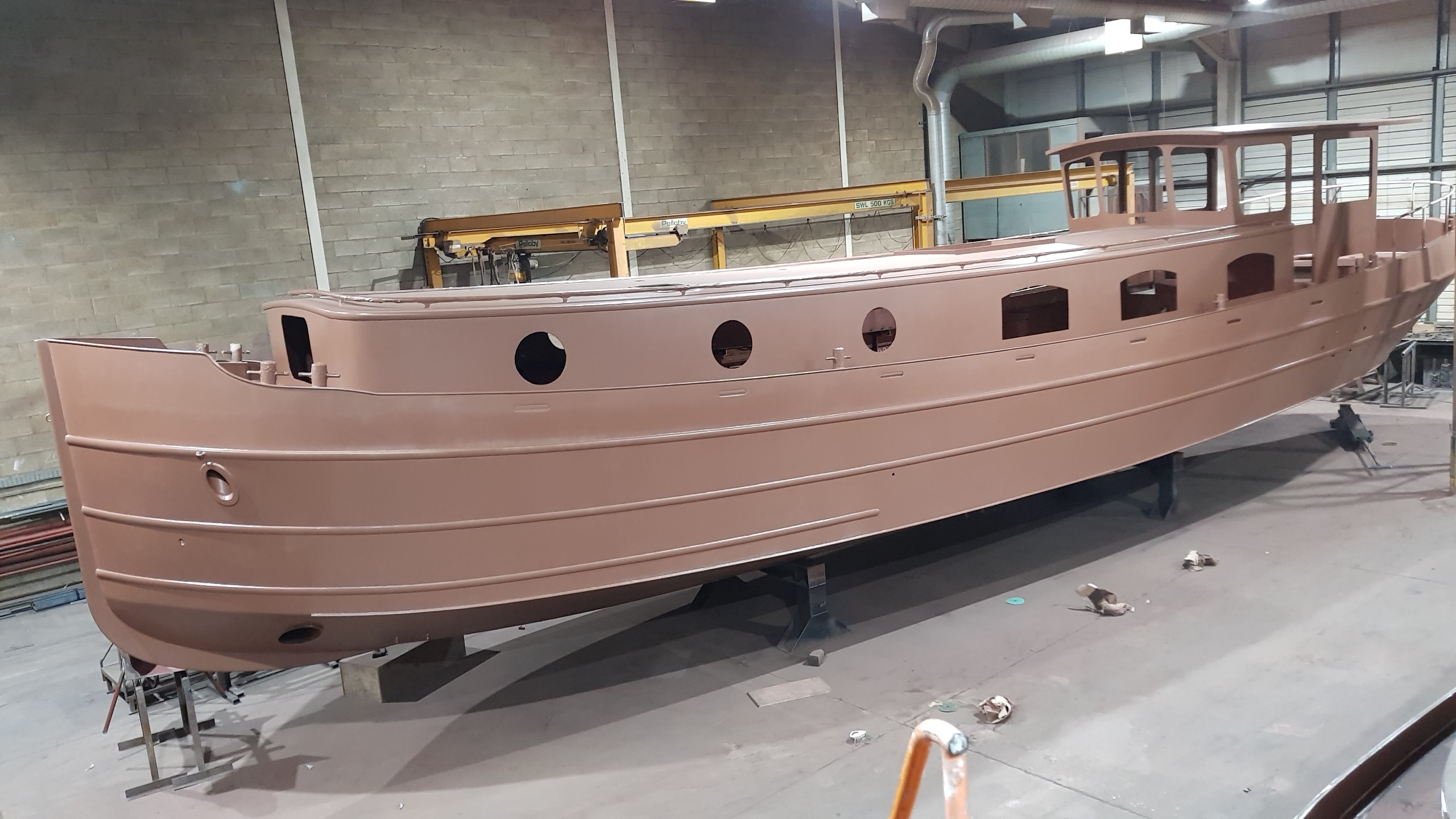 Steel Shell Dutch Barge In Build Piper Boats Factory
